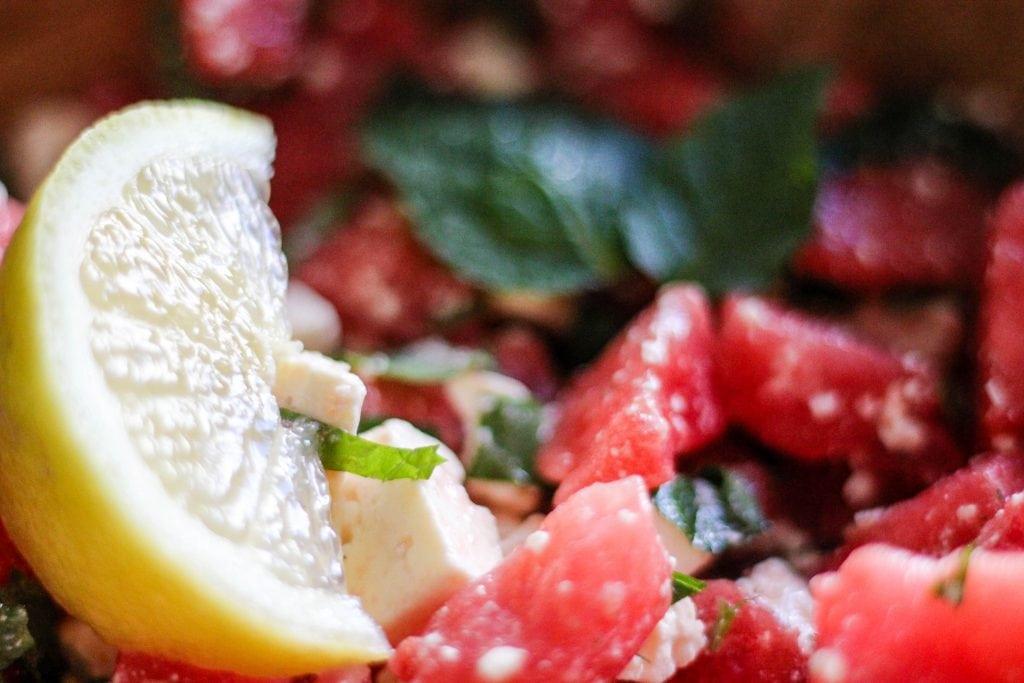 Close Up Wassermelone Feta Salat