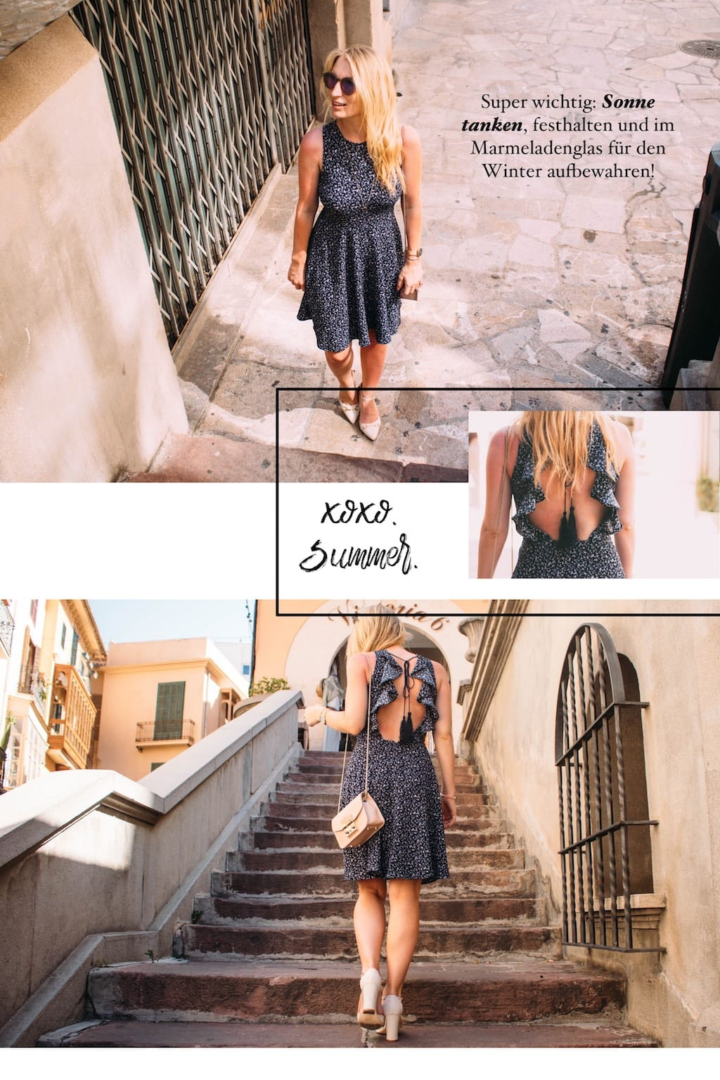 open back dress collage