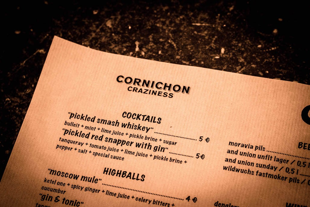 cornichon craziness cocktail karte