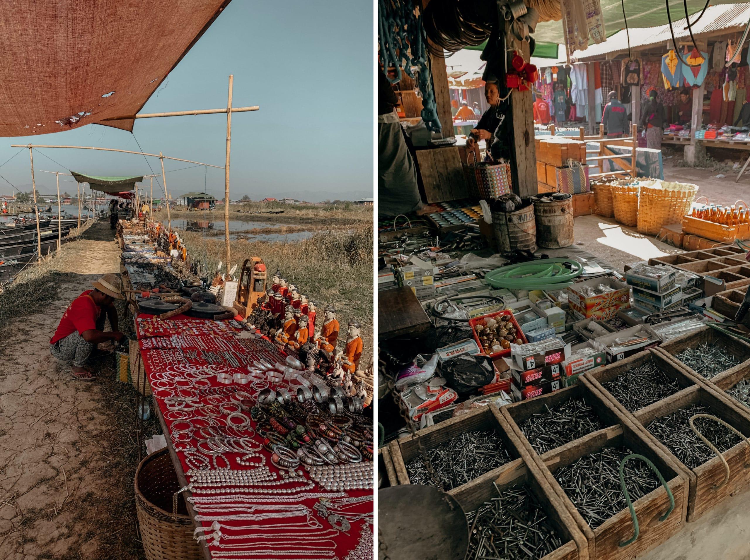 inle lake markt souvenirs